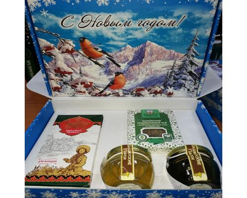 Подарочный набор новогодний «Куштанаш №2» с липовым и гречишным мёдом