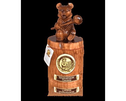 Подарок с липовым мёдом Медведь на пне 1 кг.