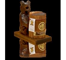 Подарок с мёдом Медведь на подставке с пнём 300 гр.