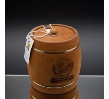 Подарок с мёдом Бочонок тёмный с обручем 2 кг.