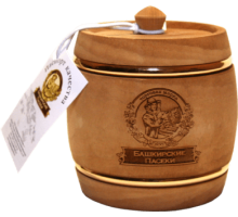 Подарок с мёдом Бочонок тёмный с обручем 300 гр.