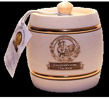 Подарок с мёдом Бочонок белый с обручем 100 гр.