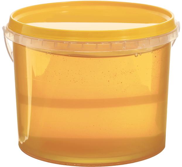 свежий мед с пасеки в пластиковом ведерке